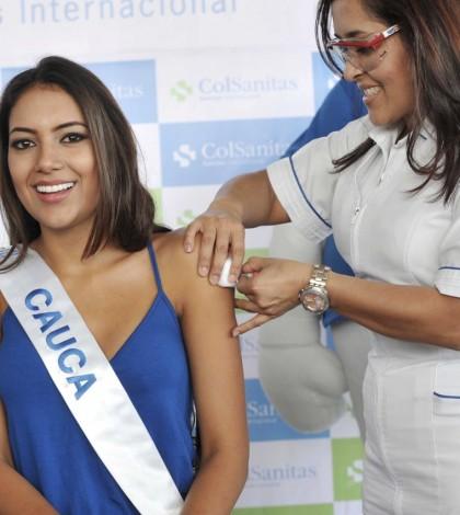 La Señorita Cauca, Jessica Paola Castañeda Guevara, fue inmunizada contra la influenza.