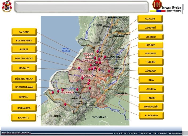 El Cauca es uno de los Departamentos más golpeados por las minas antipersonal, MAP, artefactos explosivos improvisados, municiones sin explotar y restos explosivos de guerra. En la imagen se aprecia las zonas con presencia de artefactos explosivos.