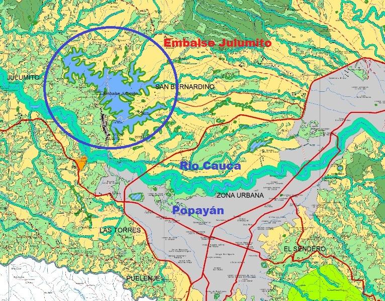 Una de las opciones de desarrollo sostenible es el proyecto de la hidroeléctrica de Julumito, al noreoccidente de Popayán.