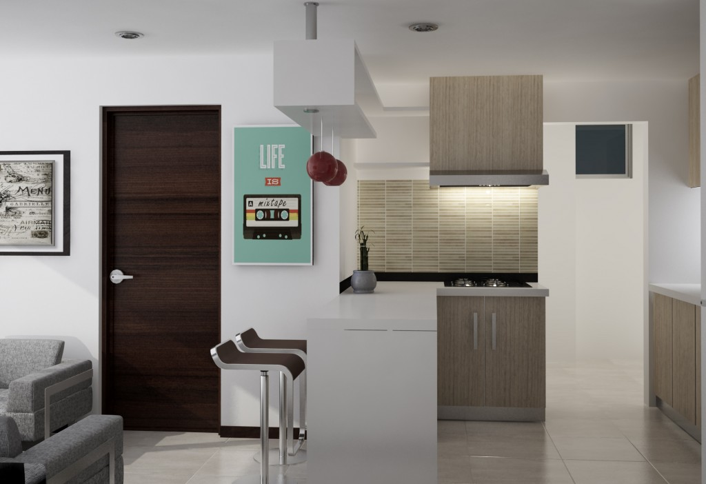 Apartamento de una alcoba, cocina.