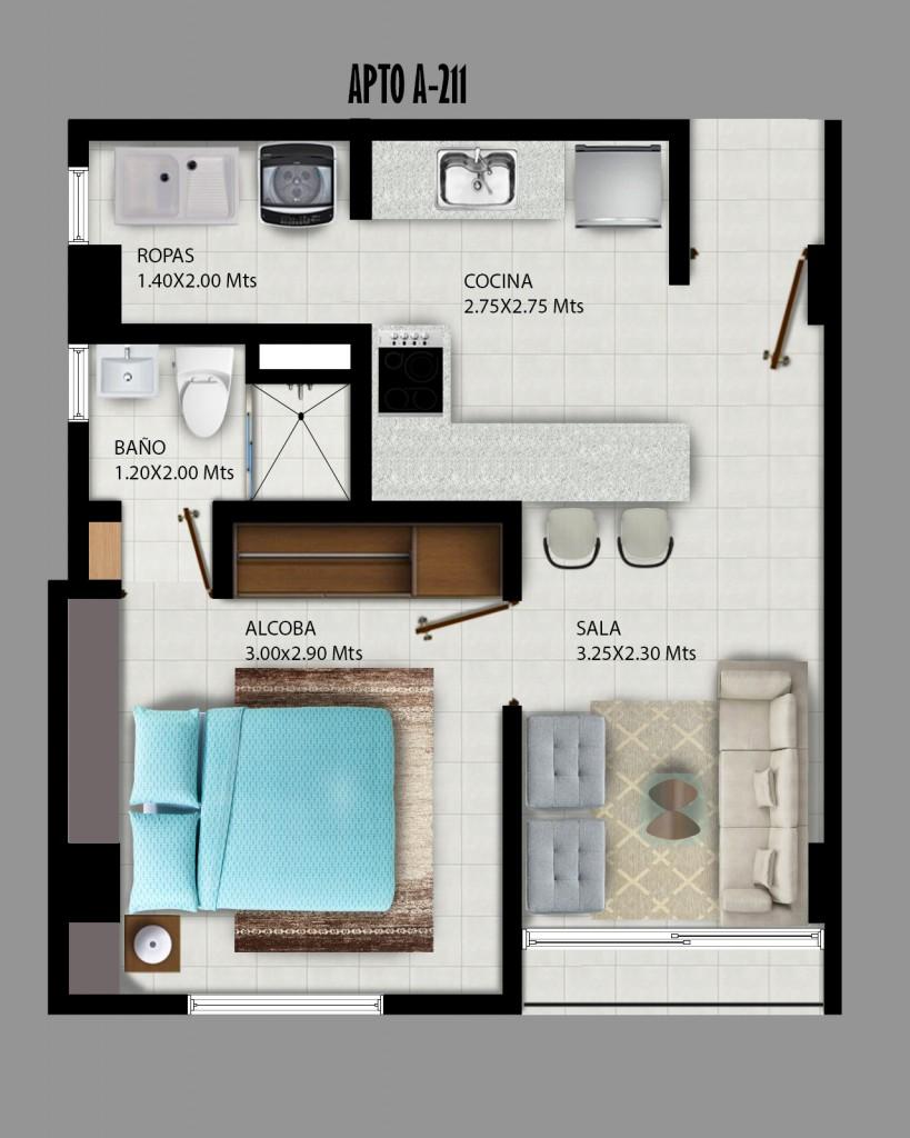 Diseño de planta apartamento de una alcoba.
