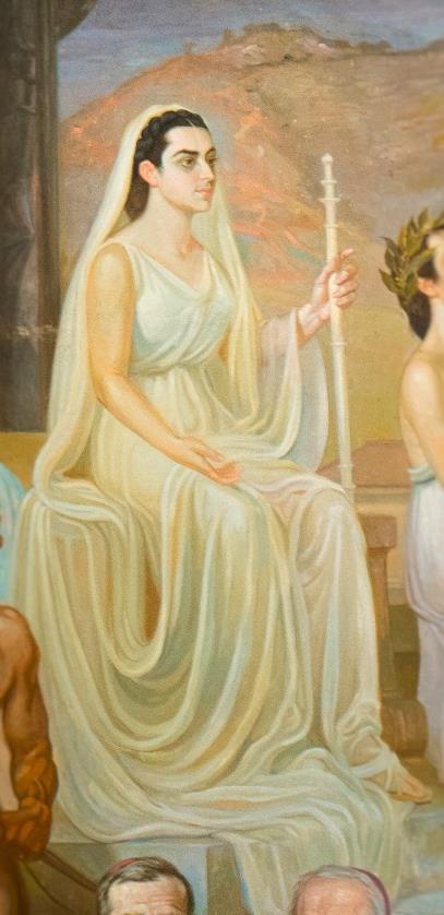 Luz Valencia representa a Popayán en el cuadro del Paraninfo Francisco José de Caldas de la Universidad del Cauca, del pintor Efraím Martínez.